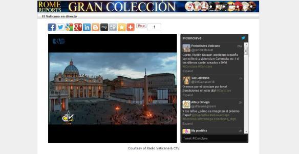El Vaticano en directo en @RomeReportsEsp #iConclave